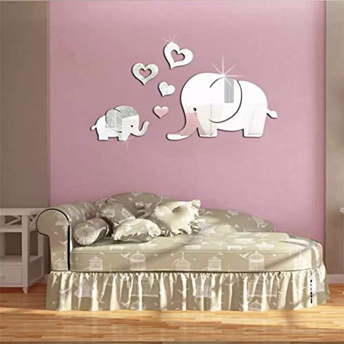 Pegatinas De Pared De Espejo De Elefante Bebé 3D Creativas De Moda, Pegatinas De Decoración De Pared De Dormitorio De Sala De Estar De Material De PVC