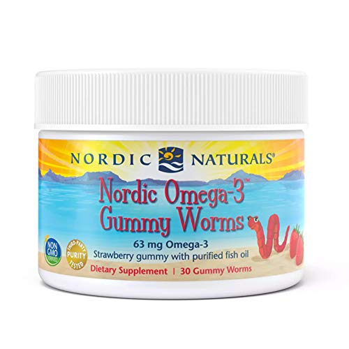 Nordic Naturals Nordic Omega-3 Gummy Worms, Strawberry - 30 Gummy Worms - 63 mg Total Omega-3s with EPA & DHA - Non-GMO - 30 Servings
