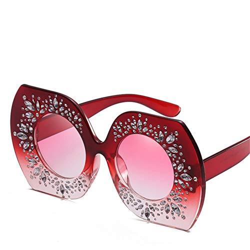Wenkang Gafas de Sol de Gran tamaño con Montura de Diamantes de imitación, Lentes Redondas, Lentes para Mujer, Gafas de Sol Uv400 Accesorios,6