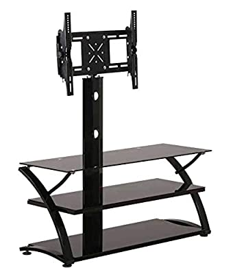 """TV600 Floor TV Stand with Mount Bracket for Most 32"""" to 60"""" OLED, LED, LCD, Plasma or Curved Screens TVs, 3 Tier Tempered Glass Shelves for Media, Weight Capacity 80lbs."""