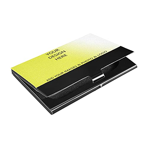 Custom Business Cards Holder with Photo/Logo, Personalized Business Card Holder for Men and Women Titanium Black Stainless Steel Material, Design Customize Your Own Card Holder Case