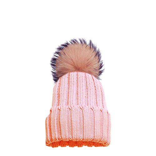 Haute für Diva S Damen NEU bunt Kunstpelz Bommel individuell einfarbig gestrickt Winter-BEANIE Pudelmütze - Pfirsich Pink, One Size - Fits...