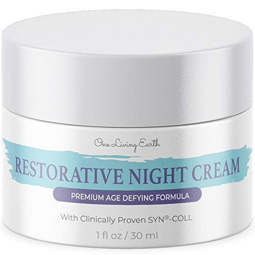 41kAU8bYJfL - One Living Earth Restorative Night Cream for Face - Clinically Proven SYN-COLL Collagen-Stimulating Peptide - Anti Aging Formula - Skin Renewing Night Cream - Wrinkle Cream for Women and Men - 1 fl oz