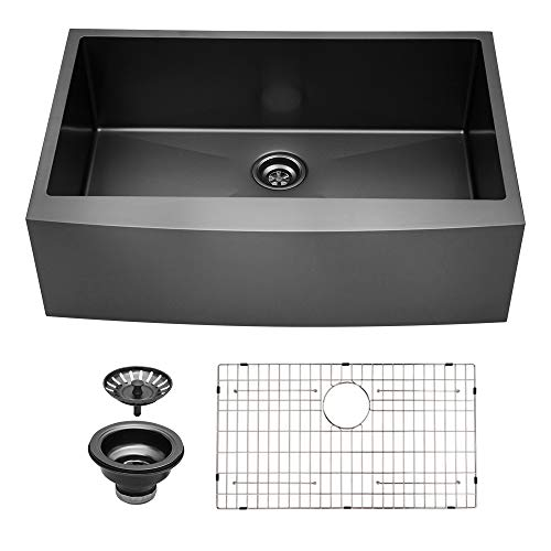 Black Farmhouse Sink 30 Inch Sarlai 30 Inch Kitchen Sink Stainless Steel Gunmetal Matte Black Farmhouse Sink Apron Front 16 Gauge Stainless Steel Deep Single Bowl Kitchen Farm Sinks Buy Online