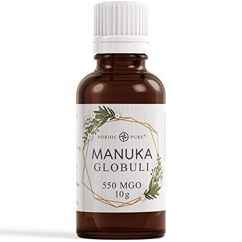Manuka Honig Globuli von Nordic Pure - radionisch informiert mit 550 MGO* (Methylglyoxal Gehalt) | Südseemyrte von Neuseeland