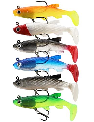 Facikono Fishing Jig Head Swimbaits Bass Fishing Lures, Soft Plastic T-Tail Lure for Saltwater Freshwater - 6pcs