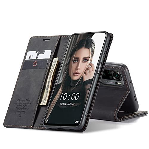 Chocoyi Kompatibel mit Xiaomi Redmi Note 10/ Note 10S Hülle Leder,Magnetverschluss Premium PU Leder Flip Hülle,Standfunktion.-schwarz