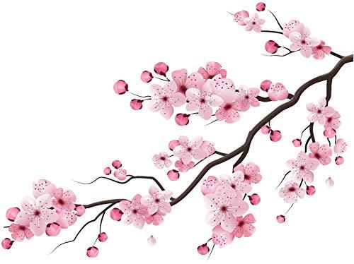 EmmiJules Wandtattoo Blumenranke Kirschblüte rosa (60cm x 45cm) Ranke Ornament Wohnzimmer Schlafzimmer Blume Baum Ast Wandaufkleber Wandsticker Pflanzen Frühling Sommer