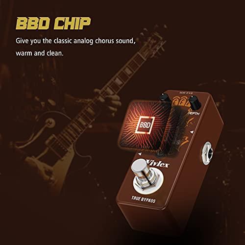 Vivlex LEF-304 Chorus coro Pedaleras Guitarras efectos Pedal Classic BBD Analógico Ensemble Stompbox para guitarra eléctrica True Bypass Full Metal Shell Mini Tamaño