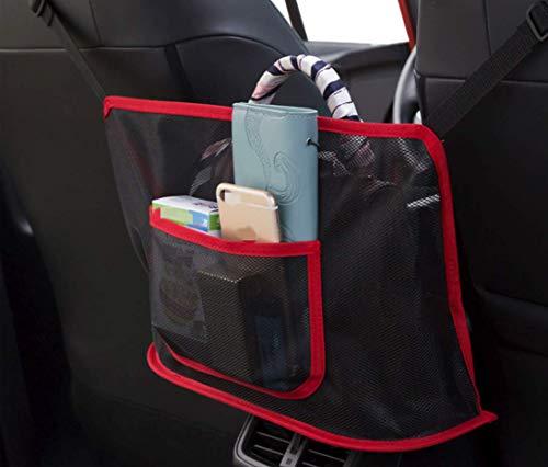 Advinced Auto Netztasche Handtasche Halter Organizer Sitz Seite Aufbewahrung Mesh Netz Tasche Autositz Aufbewahrungstasche Auto Multifunktionale Aufbewahrungsbox Auto Tasche (rot)