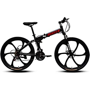 Mountain Bikes DNNAL Adult Mountain Bikes, 26 In Steel Carbon Mountain Trail Bike High Carbon Steel Full Suspension Frame Folding Bicycles, 21 Speed ​Dual Disc Brakes Bicycle