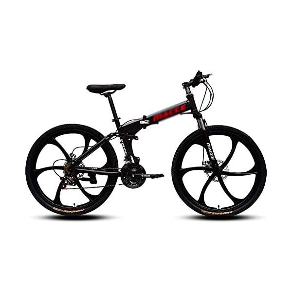 Mountain Bikes DNNAL Adult Mountain Bikes, 26 In Steel Carbon Mountain Trail Bike High Carbon Steel Full Suspension Frame Folding Bicycles, 21 Speed Dual Disc Brakes Bicycle [tag]