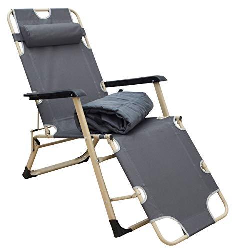 AMANKA Liegestuhl 178x65cm Sonnenstuhl Gartenliege Campingliege Sonnenliege inkl. Auflage Kopfkissen Grau