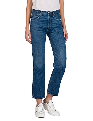 Replay Damen Alexys Straight Jeans, Blau (Mid Blue Denim 9), W28/L30