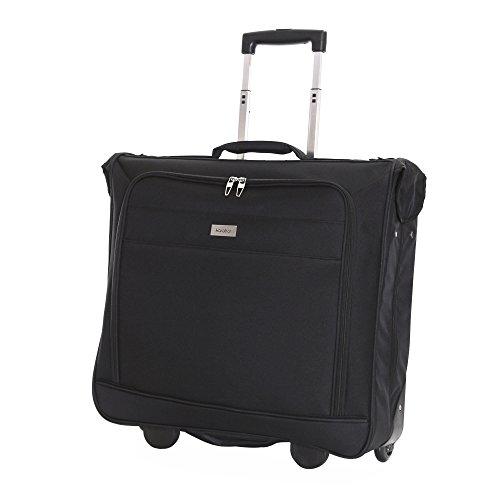 Karabar Kleidersack Anzughülle für bis zu 3 Anzüge Kleiderhülle auf Rädern - 1 Meter 55 Liter 3,5 kg - Kleidertasche mit verstellbarem Schultergurt und Mehreren Taschen, Stanley Schwarz