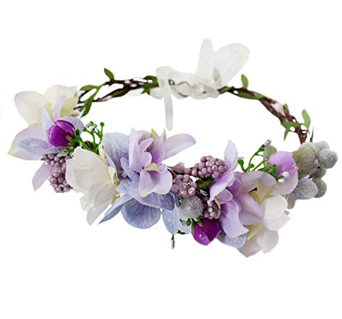Floral Crown Headband Flower Headpiece Hair Wreath Floral Halo Boho with Ribbon Wedding Party Photos Prom Lavander by Vivivalue
