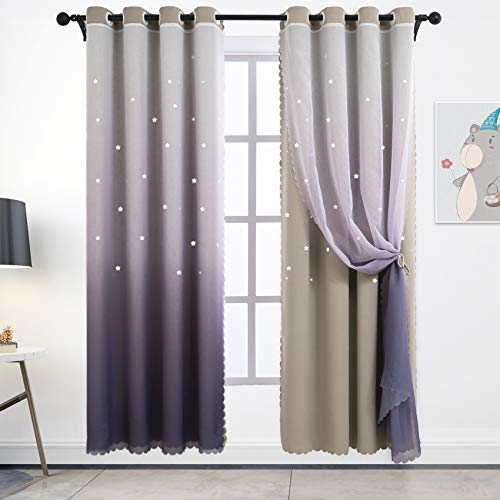 Hughapy Star Curtains Ombre Blackout Curtains for Girls Bedroom Kids Room Decor Light Blocking Voile Overlay Princess Star Hollowed Curtain Mix and Match Window Curtains, 1 Panel (42W x 84L, Grey)