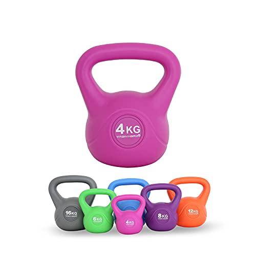 Train Hard Kettlebell 4 kg Rosarot, Kugelhantel Kunststoff mit Zement Füllung Farbig, ideal für Krafttraining Gymnastik und Heimtraining