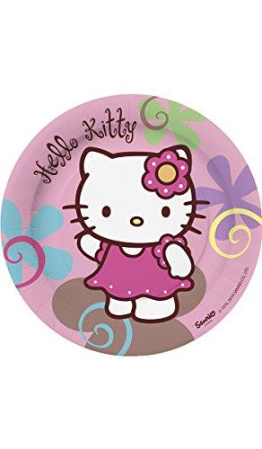 Assiettes En Carton Hello Kitty© (18Cm) - Taille Unique