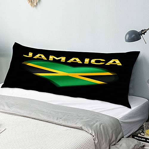 Personalizado Funda de Almohada Larga Suave,Corazón de la Bandera de Jamaica,Funda de Almohada para el Cuerpo con Oculto Cremallera Cierre Microfibra Decor del Hogar Sofá para Dormitorio,54' x 20'