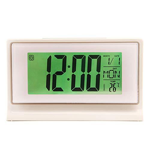 Control de Voz Despertador retroiluminación Creativo Reloj electrónico termómetro de cabecera Estudiante Despertador Gris