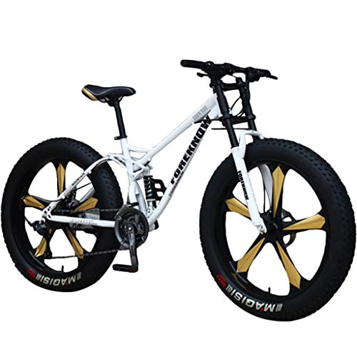 Mountain Bikes 26 inch Anti-Slip Thick Wheels Fat Tire Mountain Trail Bike for Adult Mens Womens Boys Girls, Dual Disc Brake Suspension Bicycle, High Carbon Steel Frame - Personality Cool