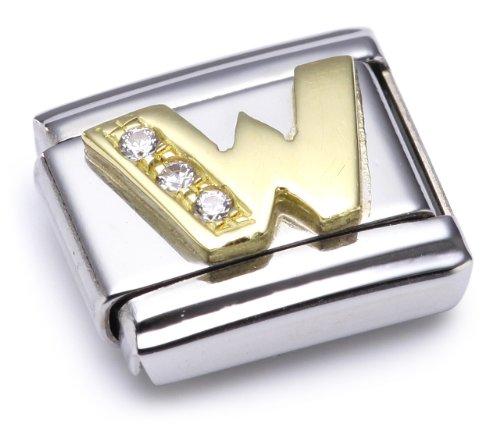 Nomination Comp. Classic BUCHST. Edelstahl, 18K-Gold und Cubic Zirc. (W) 030301