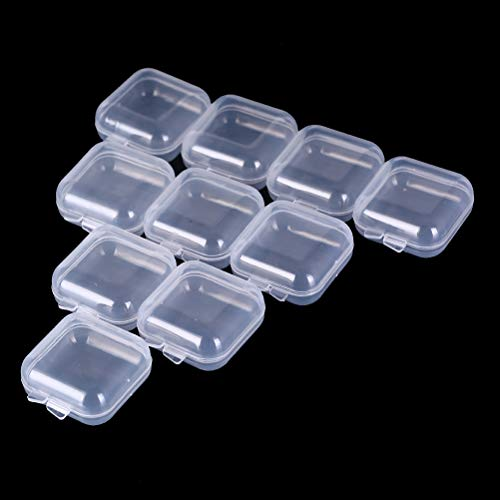 GBSTORE 10 Pcs Mini Clear Plastic Box Square Jewelry Earplug Pill Storage Box Case Container with Lid for Bead Makeup Craft Project