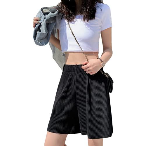 Pantalones Cortos Deportivos para Mujer Verano Sueltos de Cintura Alta Cintura elástica Pantalones Casuales de Moda de Cinco Puntos Pantalones Cortos Informales Diarios para Todos los Partidos S