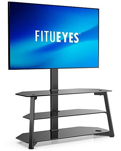 FITUEYES Support TV 3 niveaux / base pour téléviseurs 37-70 pouces, support de plancher universel pour téléviseur d'angle avec rangement, support de montage TV réglable en hauteur, max. VESA 400x400mm