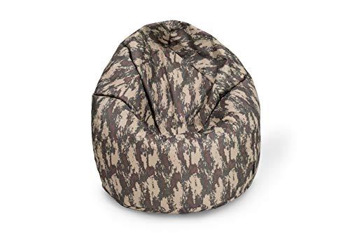BuBiBag Sitzsack Tropfenform Beanbag Sitzkissen für In & Outdoor XL 300 Liter bis XXXL 470L mit Styropor Füllung in 23 versch. Farben (XL, Camouflage)