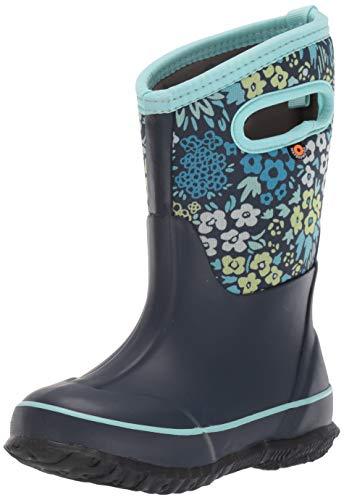 BOGS Girls Classic High Waterproof Insulated Rubber Neoprene Rain Boot, Big Nw Garden - Blue, 4 Kid