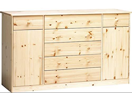 Erst-Holz® Kommode Highboard Anrichte Sideboard Kiefer Natur 7 Schubladen, 2 Türen 90.50-31