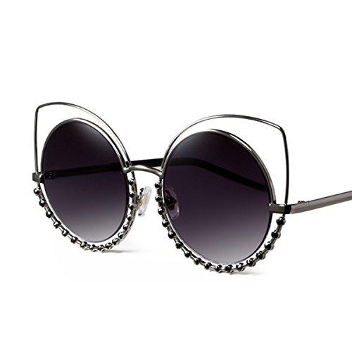 Sunyan Euramerican tide handgefertigte diamond Brille Sonnenbrille Polarisierte runde Stern mit einer großen Kiste der polarisierten Sonnenbrillen, Choke schwarz [Polarisierung]