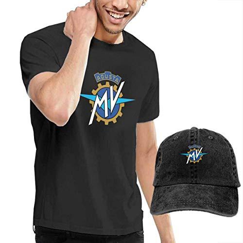Kalinanai T-Shirts, T-Stücke, Men's MV Agusta Logo Cool Cotton Short Sleeve T-Shirt and Cowboy Hat Black