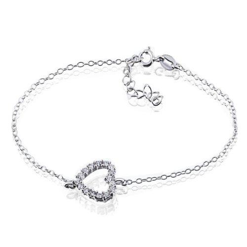 Goldmaid Damen-Armband 925 Sterlingsilber Herz weiße Zirkonia Schmuck