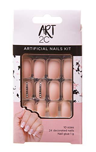 Art 2C, set di unghie finte con colla, facili da rimuovere, 24 unghie decorate, 10 misure, con piccoli strass rosa 037