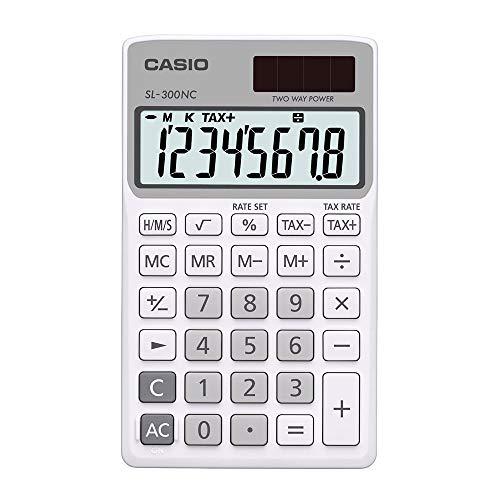 Calculadora Portátil, Visor 8 Dígitos e Alimentação Dupla, Casio, SL-300NC, Azul Claro