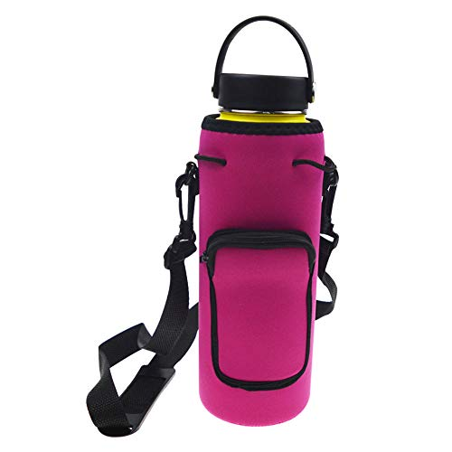 Orchidtent Water Bottle Carrier Bag with Shoulder Strap,Insulated Water Bottler Holder with Pocket for Daily Walking,Hiking Trip,Jogging and Outdoor Recreation Activities-40 oz Rose Red
