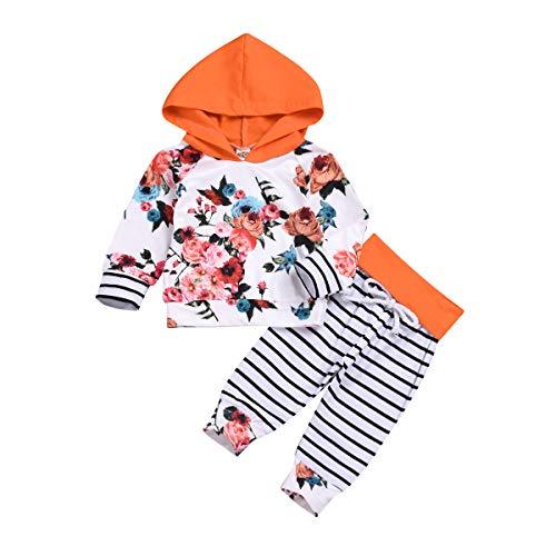 puseky 2pcs bébé Filles Floral Sweat à Capuche Haut + Rayures Pantalons Tenues vêtements Ensemble