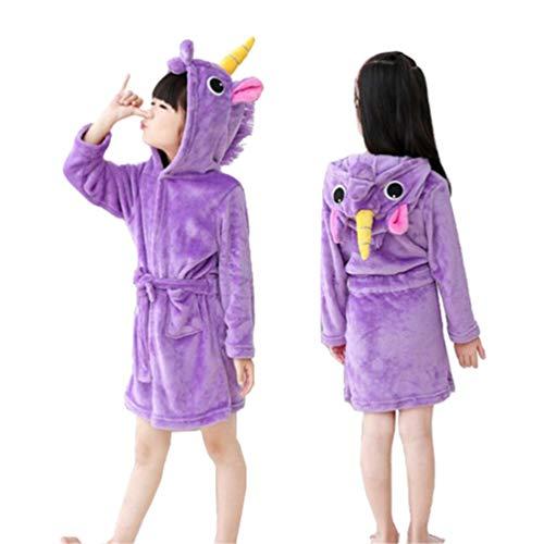 EDOTON Kinder Unisex EIN Stück Pyjama, Halloween Cosplay Winter mit Kapuze Flanell Strampler Einhorn Himmel Pferd Bademäntel (120cm: Höhe 43 '' - 47 '', Lila Bademantel)