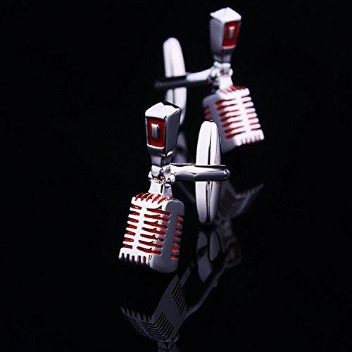 ourbest microphone-shape klassischen Herren-Manschettenknöpfe Manschettenknöpfe Neuheit (Silber und Rot)