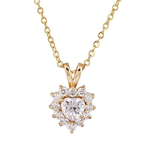 YAZILIND - Collar de cadena bañada en oro de 18 quilates, con colgante de corazón de circonita blanca, joyería para novia