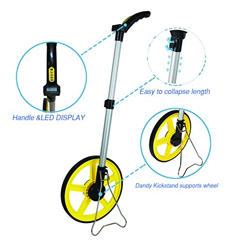 GEOLENI - Digital Distance Measuring Wheel - With Digital LCD Display - 12 Commercial Grade Feet-Inch - With Carrying Bag
