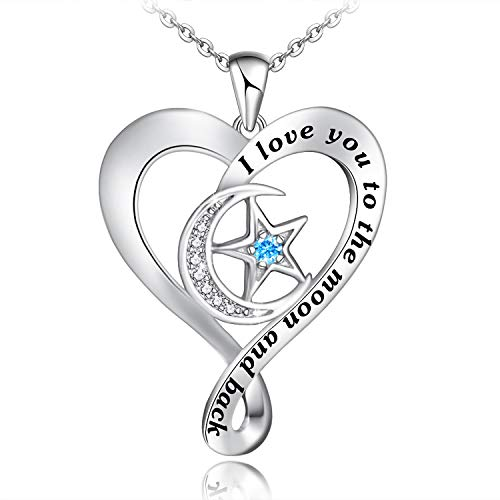 Distance I Love You to The Moon and Back Necklace for Women S925 Sterling Silver Heart Necklace Moon and Star Jewelry Gifts for Women Mom Girls Wife