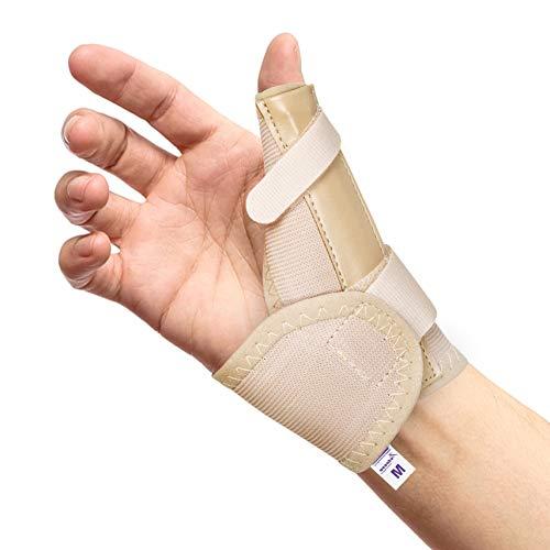 Férula, órtesis y Espica elástica para Pulgar – Reduce el Dolor de Esguinces y Distensiones de Pulgar y Tendinitis (Beige, Grande Derecha)