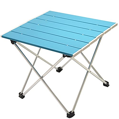 GQFGYYL-QD Mesa de Camping Portátil, Escritorio Plegable Ultraligero con Tablero de Aluminio y Bolsa de Transporte, Fácil de Llevar, Apto para Exteriores, Camping, Picnic, Pesca, 39,5x35x32 cm