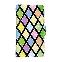 スマ通 ZenFone 5 ZE620KL 国内生産 カード スマホケース 手帳型 ASUS エイスース ゼンフォン ファイブ 【2-ブラック】 カラフル ひし形 q0004-e0440