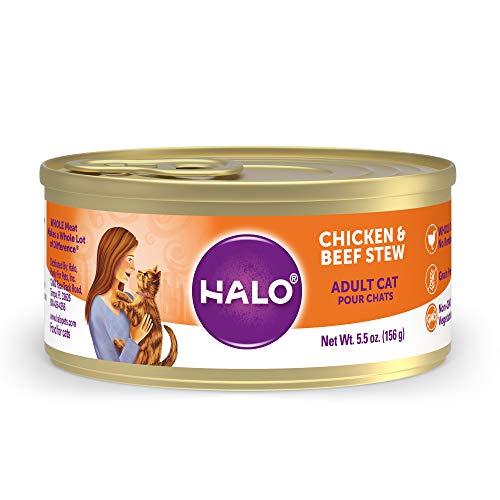 halo wet kitten foods Halo Wet Cat Food, Grain Free Cat Food, Adult, Chicken & Beef Stew 5.5oz Can (Pack of 12)