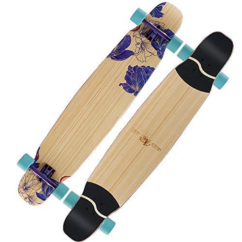FUFU Patinetes Skateboard Patineta Longboard Cubierta De 48'x9.5 De Ancho Bambú + Arce Baile Longboard Diseñado For Adultos, Adolescentes Patinetes para niños